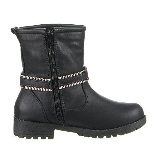 Enfants chaussures bottes 868–d1 Noir - Schwarz (24-29)