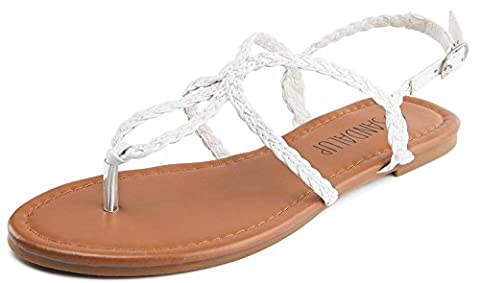 Thong Braided Strap, Women's Sandals SANDALUP White Size 07