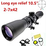 Suphunter Long Eye Relief 2-7x42 Mosin Nagant Rifle Scope Red Green Illuminated 1891/30 M39 M44 M38 91/30 Mil-dot Scout Scope Picatinny/Weaver 1913 Ring Mount