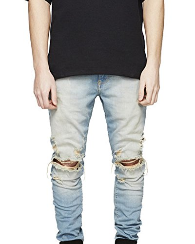 Persönlichkeit Biker-Jeans Herren Hose Stretch-Denim Slim-Fit Zipper Destroyed Jeanshosen