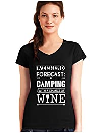 Green Turtle T-Shirts Camiseta de Cuello V para Mujer - Weekend Forecast Camping with