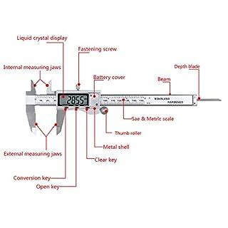 apgstore 15,2cm 150mm Digital Messschieber Mikrometer Vernier Gauge Werkzeug LCD-Display mit GRATIS Fall