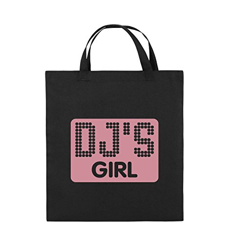 Comedy Bags - DJ'S GIRL - NEGATIV PUNKTE - Jutebeutel - kurze Henkel - 38x42cm - Farbe: Schwarz / Silber Schwarz / Rosa