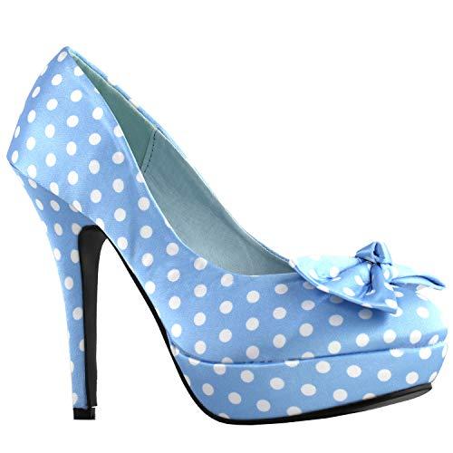 Show Story Blass blau weiß Zwei Ton Fleck Polka Dots Bogen Stiletto Plattform High Heel Pumpe, LF30406BL41, 41 EU, blass blau -