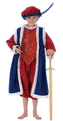 Fancy Me Jungen Kinder König Henry VIII 8th büchertag Tudor Weihnachten Krippe Verkleidung Kostüm Outfit - Blau, 6-8 Years - Kinder Krippe König Kostüm