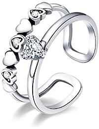4bd15d4803e4 XJYA Anillos de Plata 925 para Mujer Anillo Simple en Forma de corazón  Apertura de Anillo