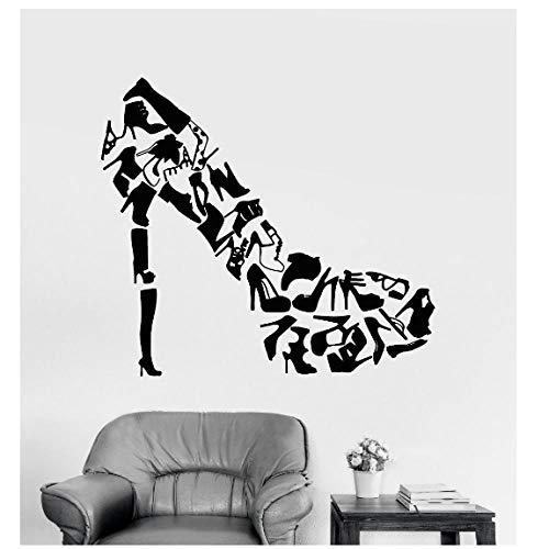 YYZCM Adesivi murali Scarpe con tacchi Adesivi murali arte Soggiorno Decorazioni Calzature Scarpe da donna Negozio Moda Adesivi murali Decalcomania del vinile 63x57cm