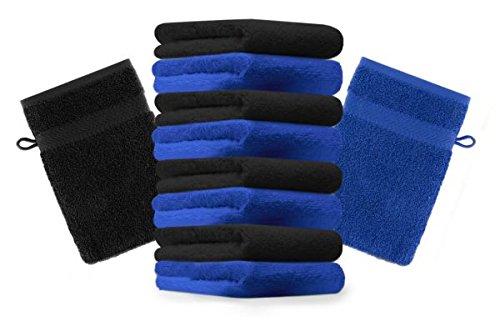 Betz lot de 10 gants de toilette taille 16x21 cm 100% coton Premium couleur noir, bleu royal