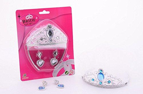 Secret Bride Kinder Prinzessinen-Krone Diadem mit Ohrringen (Königin Der Diamanten Erwachsene Kostüme)