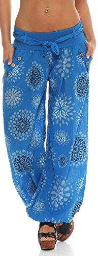 malito Damen Pumphose in vielen Farben und Mustern   leichte Stoffhose   Freizeithose für den Strand   Haremshose S3417 blau 3481