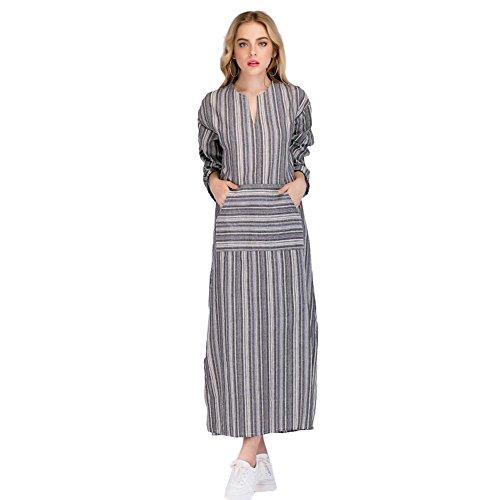 Là Vestmon Vestito Da Donna Abito Sciolto Manica Lunga Retro Lino Cotone  Abiti Lunghi Donna Eleganti Camicetta Largo Casual Estivi Vestiti Donna  Taglie ... 11d761ba62e