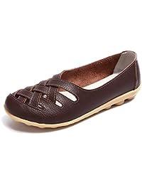 Mocasines para Mujer Loafers Cuero Casual Zapatillas Verano Zapatos del Barco Ligero Cómodo Zapatos de Conducción