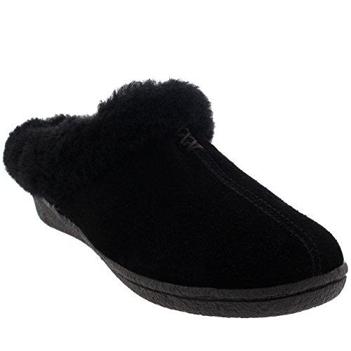 Donna Camoscio Di Pecora Australiana Foderato Di Pelliccia Pantofole Nero