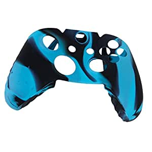 Generic Camo Soft Silicone Protective Skin Case Cover for XBOX ONE Game Controller--Blue with Black