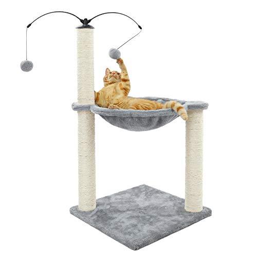 Eono Essentials Petit Arbre à Chat avec hamac et 2 Jouet Balle Suspendus 40 * 40 * 58cm