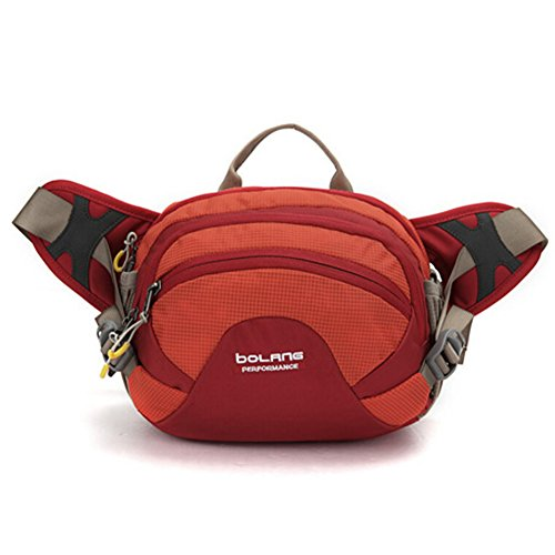 Outdoor peak Unisex Nylon wasserdicht Gürteltasche Multifunktions-Tasche Messenger Bag Transporttasche Reisetasche Kettle Paket Tagetasche Fahrrad Bergsteigen Rot