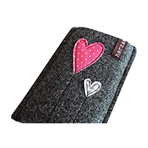 Handytasche Samsung Galaxy J5 2017 Handyhülle Smartphone Filzhülle Handy Hülle Tasche Cover Case Filz Wollfilz herz am stiel kinkerlitzchen handmade herzballon herzblume verspielt Geschenk Freundin