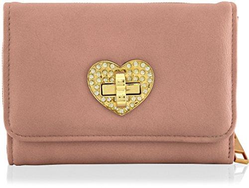 KukuBird figura del cuore del modello del diamante riempito di formato medio delle signore della borsa della frizione Wallet PINK