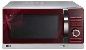 LG MH6883AAF Four à micro-ondes (28L, 900W, fonction décongélation, fonction grill) Rouge/Argent