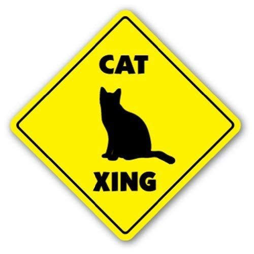 DOGT Metal Square Sign 12x12 inches Decorative Signs with Sayings Cat Crossing Sign Animals Kitten Metal Aluminum Wall Sign Safety Sign -