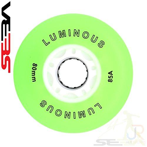 Luminous by Seba Seba Green - Ruedas luminosas para patinaje en línea (80 mm)