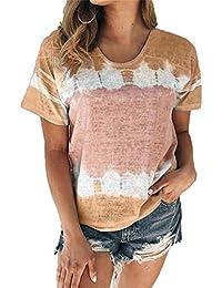 Primavera y Verano Ropa de Mujer Cuello Redondo Suelto Manga Corta Camiseta Estampada Tops Mujer