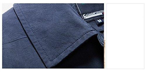 Herren Langarm Farbe Brife Stil Singel Button Baumwolle Trench Coats Blau