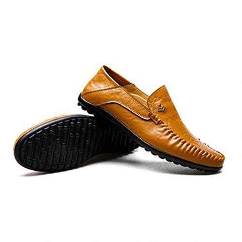 Sunny & Baby scarpe da uomo classica in vera pelle gomma morbida suola piatta casual Loafer per uomo resistente all' abrasione, marrone, 41 EU Marrone