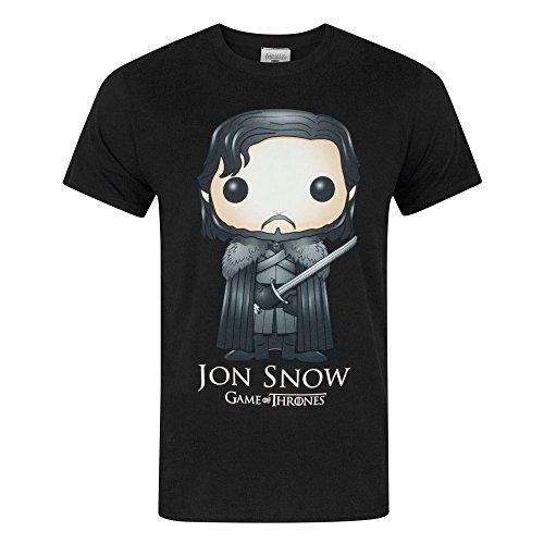 Game Of Thrones - Camiseta Oficial Funko Jon Snow para Hombre (XL/Negro)