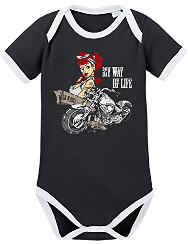 TShirt-People TSP Biker Girl Tattoo Kontrast Baby Body 62 - Metal Kids Kostüm