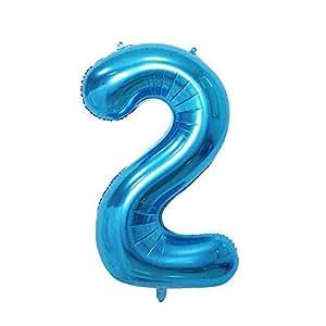 ShopVip Ballons Anniversaire Chiffre 2 Décoration Anniversaire Mariage Géant 80 CM - Grand Ballons Chiffres Bleu Gold - Ballon Chiffre Bleu 2 Ans - Numéro 2 - 20 Ans