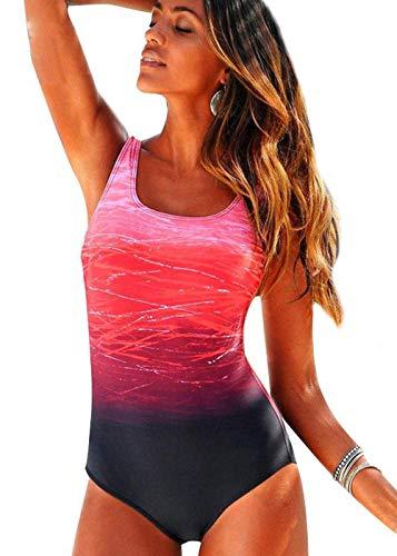 Bong Buy Zafuaz Damen bedruckter Badeanzug Einteiler gepolstert Bademode Athletic Criss Cross Vintage Monokini - Pink - Small (Badeanzug Einteiler Athletic)