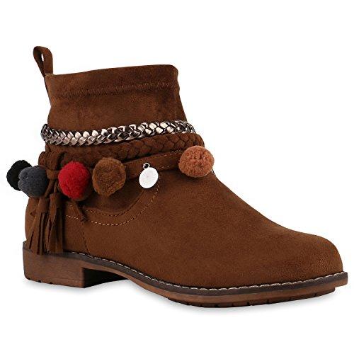 Stiefelparadies Damen Schuhe Ethno Stiefeletten Pom Pom Boots Flache Stiefel 126513 Braun Pom Poms 37 | Flandell® (Pom Bootie)