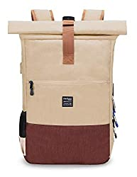 EverVanz Laptop-Rucksack, Damen & Herren Roll Top Wasserdichter Wanderrucksack, Leichtgewichtiger Freizeit-Rucksack, Stilvolle Schultasche mit USB-Ladebuchse