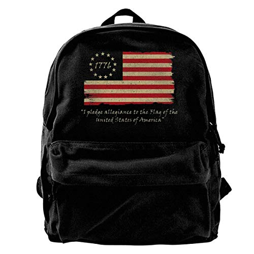 Betsy Ross Flag Vintage American Flag Backpack Unisex Classic School Bookbags Canvas Backpack Travel Bag Duffel Bag 14Inch Laptop Bag Purse for Boy's Girl's -