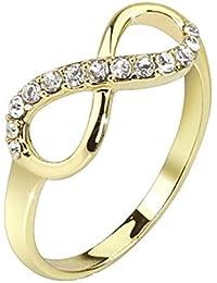 Paula & Fritz acero inoxidable 14 quilates plateado del oro anillo de oro Infinity circonios brillante