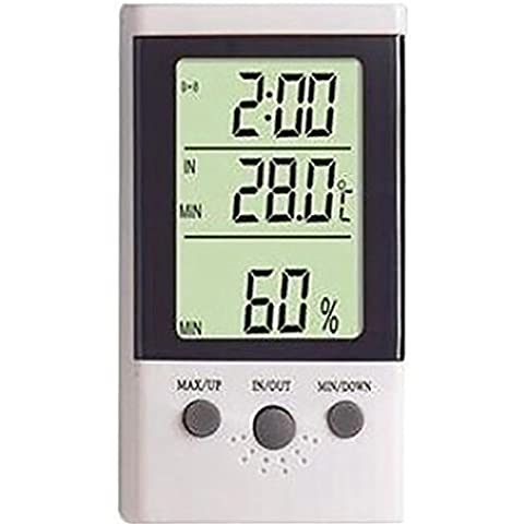 G&M Refrigerador tanque de pescados de indicación de la fecha de inicio el termómetro al aire libre temperatura electrónico de doble reloj despertador