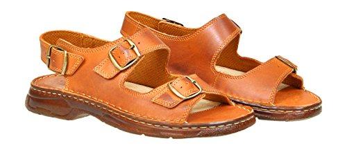 Chaussures Pour Homme Sous Forme De Sandales Confortables En Cuir Avec Le Bout Devant Ouvert Ayant Une Forme Orthopedique Modele 816 Cognac