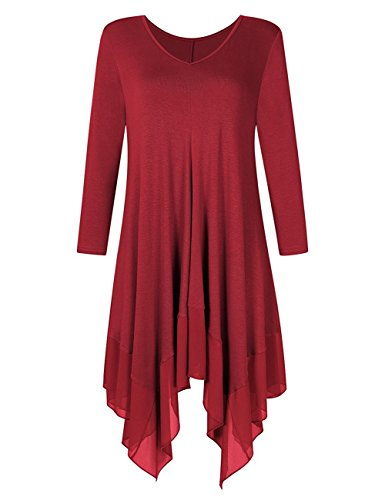 Young17 Women Irregular Hem 3/4 Sleeve Loose Chiffon Contrast Tunic Shirt Dress Top Plus Size