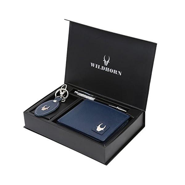 Leather Wallet Keychain & Pen Combo for Men