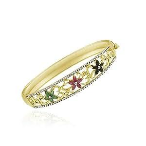 Or 18 carats sur Argent sterling Rubis, Saphir, Emeraude et Diamant accent de Bangle