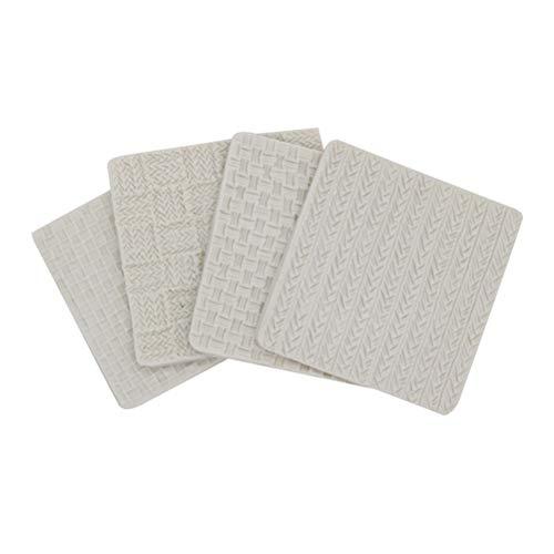 BESTONZON 4 moldes de silicona para tejer con textura de ganchillo, diseño en relieve, para tartas...