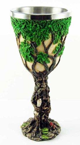 Hermoso árbol de Wicca de Pagan verde espiral, para hombre, diseño de calcáliz de altara, árbol de la vida