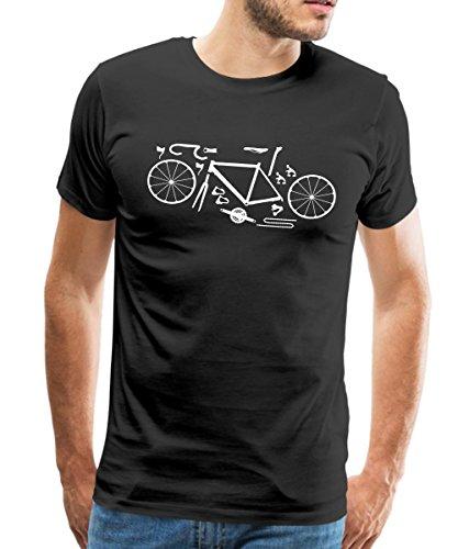 Spreadshirt Rennrad Kit Fahrrad Bike Komponenten Männer Premium T-Shirt, XL, Schwarz