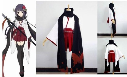 Inu x Boku SS Shirakiin Ririchiyo Printing Kimono Cosplay Kostüm , Größe XL: Höhe (170cm-175cm) Gewicht (60-70 kg)