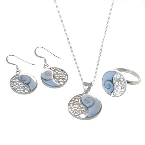 Bella Carina Schmuck-Set Anhänger Kette Ohrringe Ring Yin & Yang mit Shiva Auge, 925 Silber