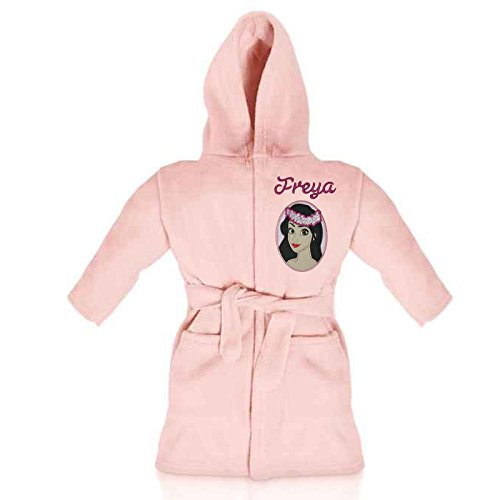 Oh Sew Simple Moana Island Princess Personalised & Applique Super Soft Fleece Dressing Gown/Bathrobe (Baby Pink - Moana 2)