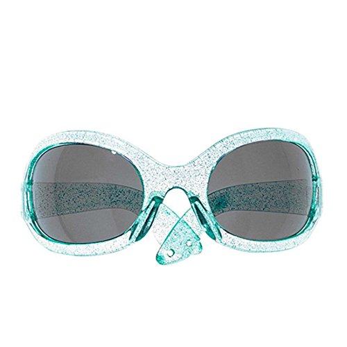 XXL 70er Jahre Brille Party Sonnenbrille blau Damen Glitzer Partybrille Disco Star Funbrille Retro Space Spaßbrille Glitter Sunglasses