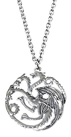 Game of Thrones inspired Targaryen Dragon silver color pendant