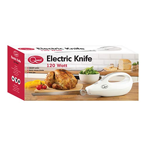 41PXAzhAF6L. SS500  - Quest 35059 Electric Serrated Carving Knife-Can Cut Turkey, Meat, Bread, Vegetables, Fruits, Ham, and Cooked Beef, 120W, White